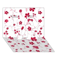 Sweet Shiny Floral Red Love 3d Greeting Card (7x5)