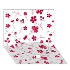 Sweet Shiny Floral Red Heart Bottom 3D Greeting Card (7x5)