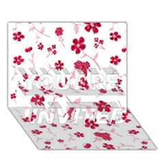 Sweet Shiny Floral Red YOU ARE INVITED 3D Greeting Card (7x5)