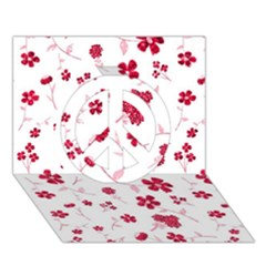Sweet Shiny Floral Red Peace Sign 3d Greeting Card (7x5)