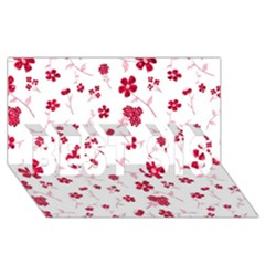 Sweet Shiny Floral Red BEST SIS 3D Greeting Card (8x4)