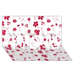 Sweet Shiny Floral Red #1 DAD 3D Greeting Card (8x4)