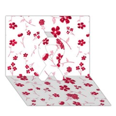 Sweet Shiny Floral Red Ribbon 3d Greeting Card (7x5)
