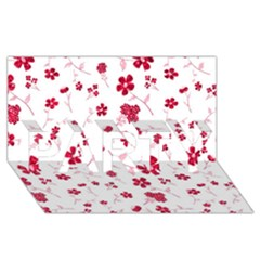 Sweet Shiny Floral Red Party 3d Greeting Card (8x4)