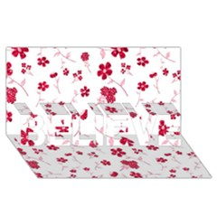 Sweet Shiny Floral Red Believe 3d Greeting Card (8x4)