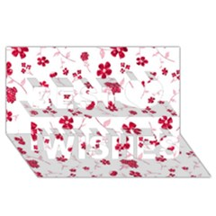 Sweet Shiny Floral Red Best Wish 3D Greeting Card (8x4)
