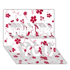 Sweet Shiny Floral Red THANK YOU 3D Greeting Card (7x5)