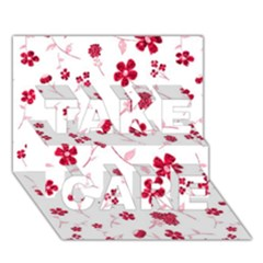 Sweet Shiny Floral Red Take Care 3d Greeting Card (7x5)
