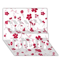 Sweet Shiny Floral Red You Did It 3D Greeting Card (7x5)