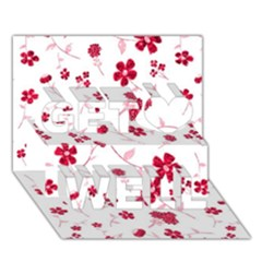 Sweet Shiny Floral Red Get Well 3d Greeting Card (7x5)