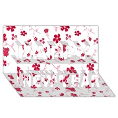Sweet Shiny Floral Red Happy New Year 3d Greeting Card (8x4)