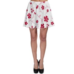 Sweet Shiny Floral Red Skater Skirts