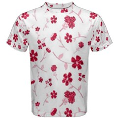 Sweet Shiny Floral Red Men s Cotton Tees