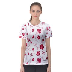 Sweet Shiny Floral Red Women s Sport Mesh Tees