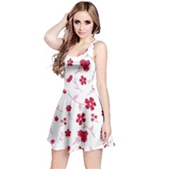 Sweet Shiny Floral Red Reversible Sleeveless Dresses