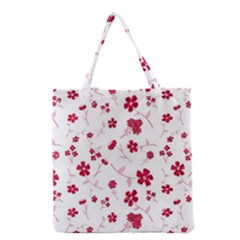 Sweet Shiny Floral Red Grocery Tote Bags