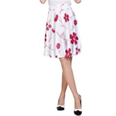 Sweet Shiny Floral Red A-Line Skirts