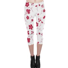 Sweet Shiny Floral Red Capri Leggings