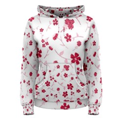 Sweet Shiny Floral Red Women s Pullover Hoodies