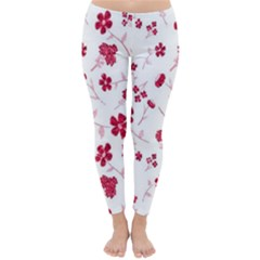 Sweet Shiny Floral Red Winter Leggings