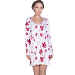 Sweet Shiny Floral Red Long Sleeve Nightdresses