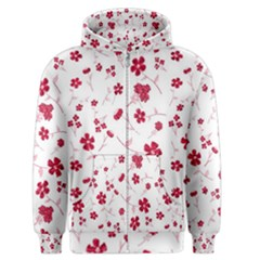 Sweet Shiny Floral Red Men s Zipper Hoodies