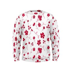 Sweet Shiny Floral Red Boys  Sweatshirts