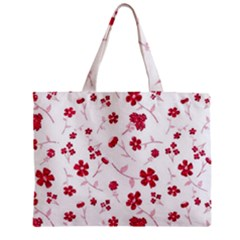 Sweet Shiny Floral Red Zipper Tiny Tote Bags
