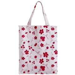 Sweet Shiny Floral Red Zipper Classic Tote Bags