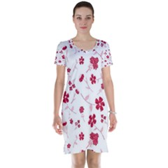 Sweet Shiny Floral Red Short Sleeve Nightdresses