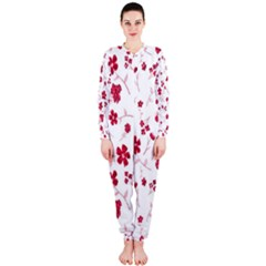 Sweet Shiny Floral Red OnePiece Jumpsuit (Ladies)