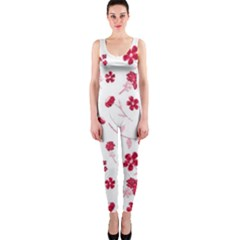 Sweet Shiny Floral Red OnePiece Catsuits