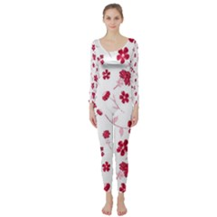 Sweet Shiny Floral Red Long Sleeve Catsuit