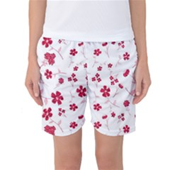 Sweet Shiny Floral Red Women s Basketball Shorts