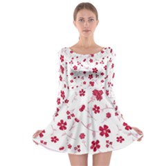 Sweet Shiny Floral Red Long Sleeve Skater Dress