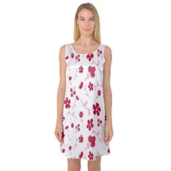 Sweet Shiny Floral Red Sleeveless Satin Nightdresses