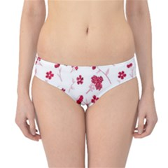 Sweet Shiny Floral Red Hipster Bikini Bottoms