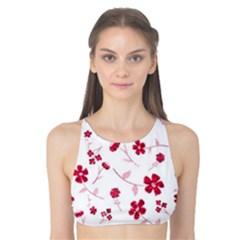 Sweet Shiny Floral Red Tank Bikini Top