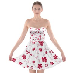Sweet Shiny Floral Red Strapless Bra Top Dress
