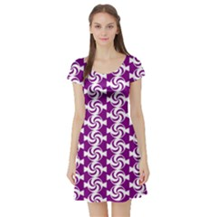 Candy Illustration Pattern Short Sleeve Skater Dresses