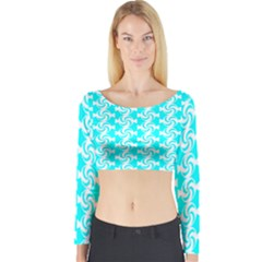 Candy Illustration Pattern Long Sleeve Crop Top