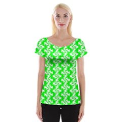 Candy Illustration Pattern Women s Cap Sleeve Top