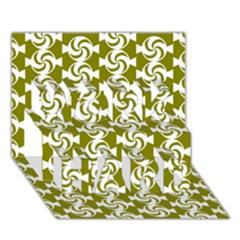 Candy Illustration Pattern WORK HARD 3D Greeting Card (7x5)