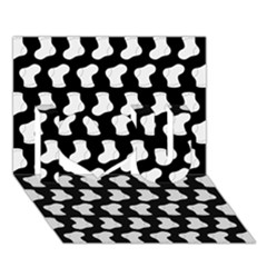 Black And White Cute Baby Socks Illustration Pattern I Love You 3D Greeting Card (7x5)