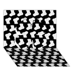 Black And White Cute Baby Socks Illustration Pattern Clover 3D Greeting Card (7x5)