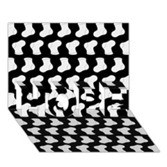 Black And White Cute Baby Socks Illustration Pattern HOPE 3D Greeting Card (7x5)