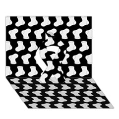 Black And White Cute Baby Socks Illustration Pattern Ribbon 3D Greeting Card (7x5)