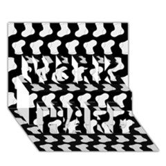Black And White Cute Baby Socks Illustration Pattern Work Hard 3d Greeting Card (7x5)