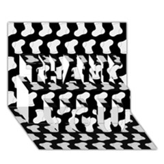 Black And White Cute Baby Socks Illustration Pattern THANK YOU 3D Greeting Card (7x5)