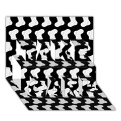 Black And White Cute Baby Socks Illustration Pattern TAKE CARE 3D Greeting Card (7x5)